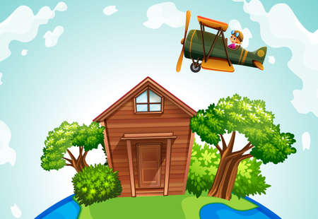 bungalow: Airplane flying over a wooden house illustration