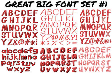 bold: English fonts in red bold illustration Illustration