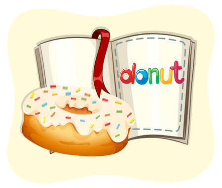 frosting: Donut with white frosting and book illustration