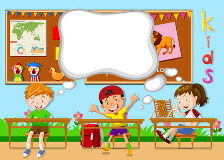 cartoon school girl: Children learning in the classroom illustration