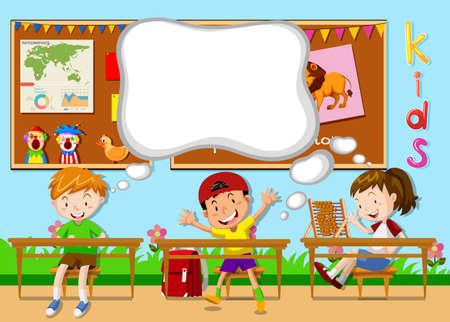 ni�os en la escuela: Ni�os que aprenden en la ilustraci�n aula Vectores