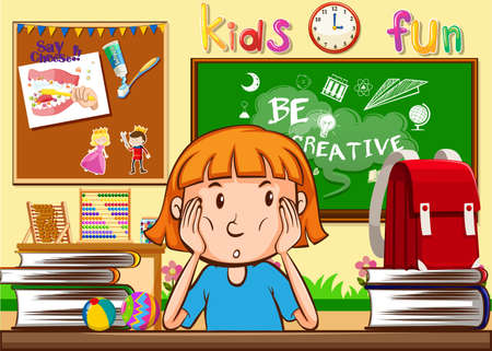 cartoon child: Girl learning in the classroom illustration