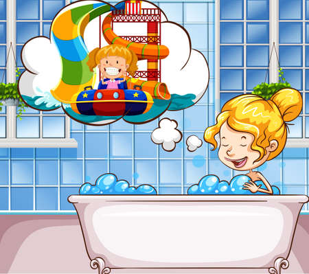 daydreaming: Girl daydreaming in the bathtub illustration
