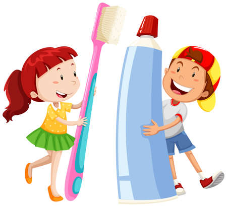 dentist: Boy and girl with giant toothbrush and paste illustration