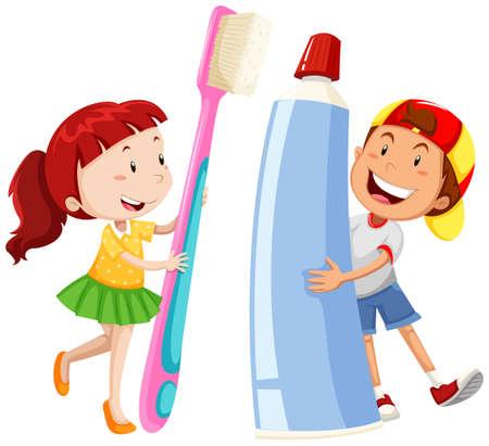dientes caricatura: Chico y chica con cepillo de dientes gigante y la pasta de la ilustración Vectores