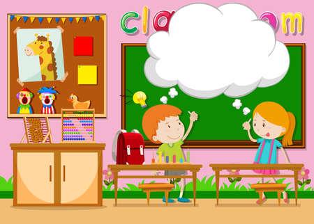niños en la escuela: Niño y niña en la ilustración aula
