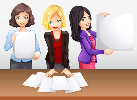 businesswomen: Businesswomen working in team illustration Illustration