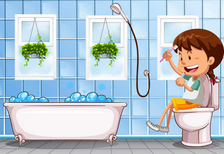 Girl sitting on toilet in bathroom illustration Illustration