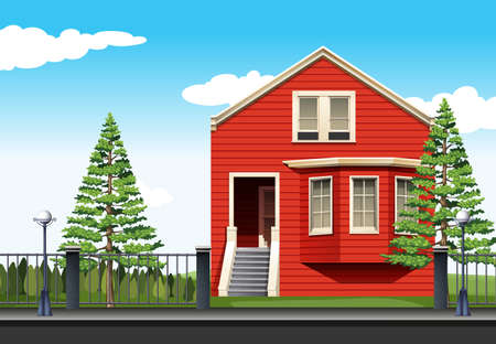 modern house: Red house by the road illustration