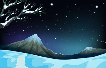 winter scene: Nature scene during the winter time illustration Illustration