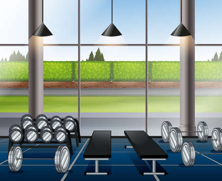 drawing room: Inside weightlifting room with benches illustration Illustration