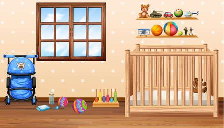 Espace bébé avec de la morue et des jouets illustration