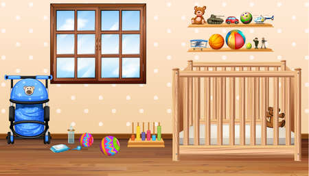 Baby room with cod and toys illustration
