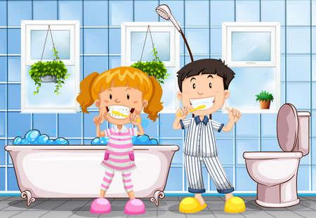 niño y niña: Niño y niña cepillarse los dientes en la ilustración de baño