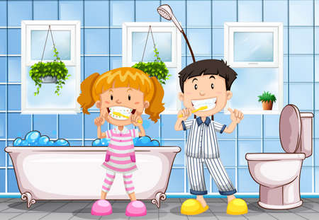 Boy and girl brushing teeth in the bathroom illustration