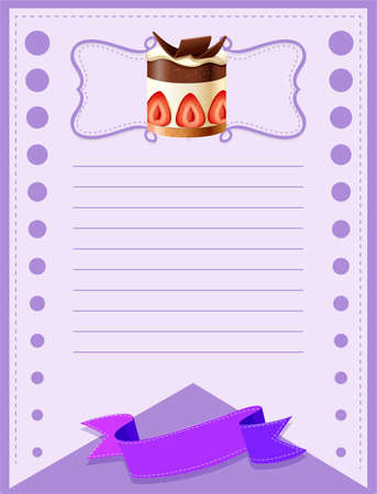layout strawberry: Line paper design with cake illustration