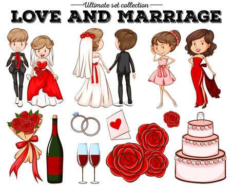 bride: People in love and marriage illustration