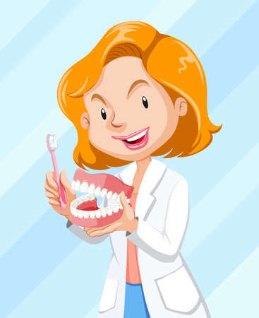 Dentist showing how to brush the teeth illustration Иллюстрация