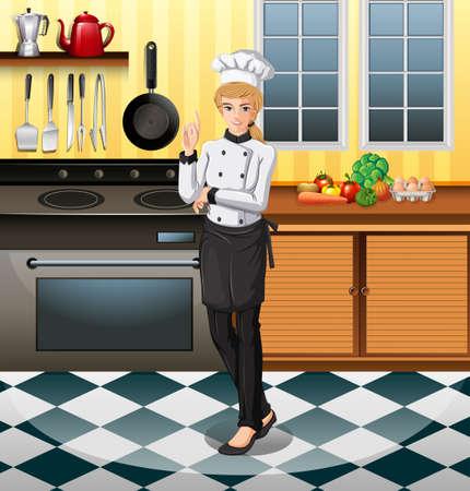 clip art women: Chef working in the kitchen illustration