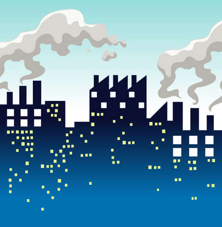 air pollution: Factory producing lots of smoke illustration