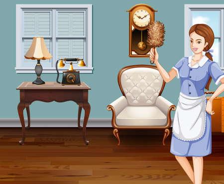 limpieza  del hogar: Limpieza de la criada de la ilustración de la casa Vectores