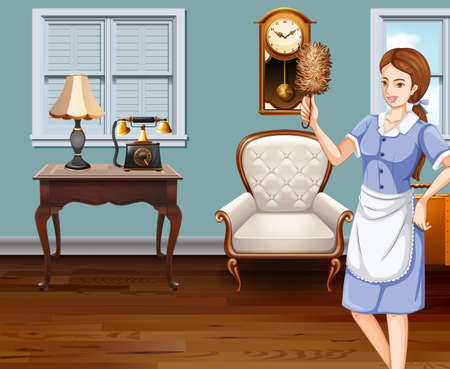 happy family house: Maid cleaning the house illustration