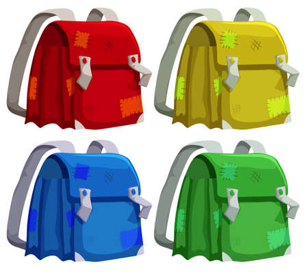 bad condition: Old schoolbags in four colors illustration