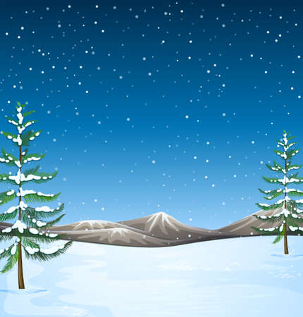 snow field: Nature scene with snow falling at night illustration