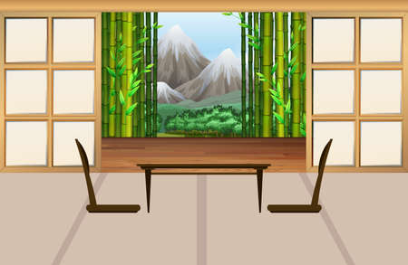 japanese style: Living room in japanese style illustration