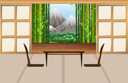 japanese garden: Living room in japanese style illustration