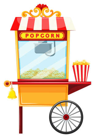 cart: Popcorn vendor with wheel and bell illustration Illustration