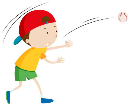cartoon ball: Little boy throwing ball illustration