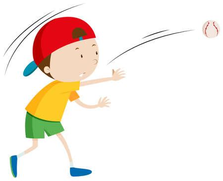 Little boy throwing ball illustration
