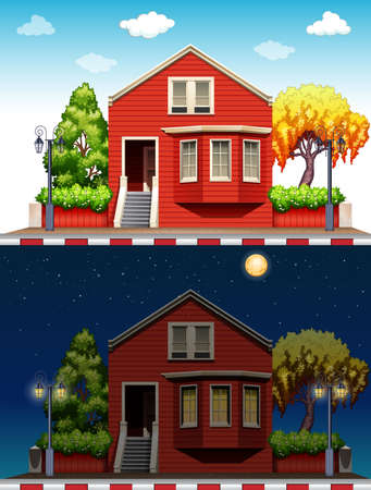 arquitecto caricatura: Casa sola en el d�a y la noche ilustraci�n