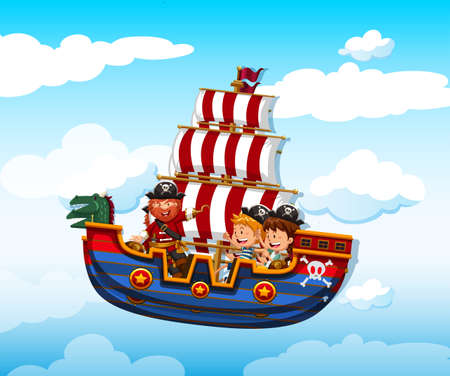 viking: Boy and girl riding on viking with pirate illustration