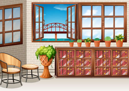 drawing room: Room with ocean view from window illustration Illustration