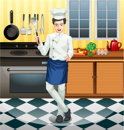 ustensiles de cuisine: Chef working in the kitchen illustration