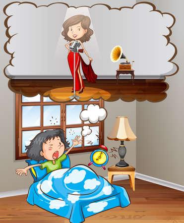 Girl dreaming of being a star illustration Illustration