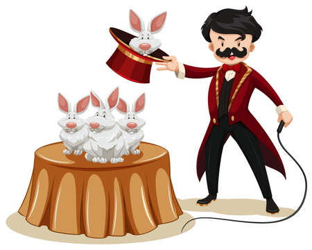 single whip: Magician and rabbits at the show illustration