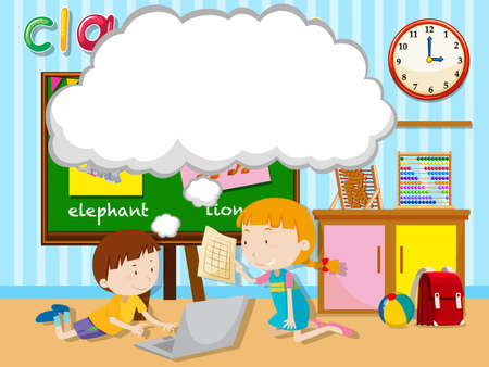 school work: Boy and girl working in group illustration