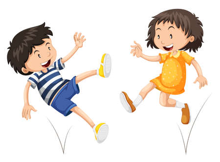 bouncing: Boy and girl bouncing  illustration