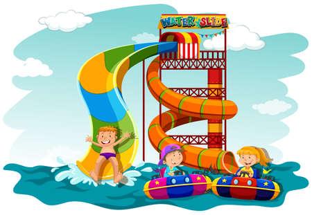 water slide: Boys and girl riding down the water slide illustration Illustration
