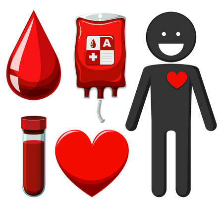 blood type: Human and blood donation illustration Illustration
