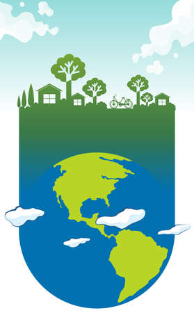 green house effect: Save the world theme with earth and house illustration