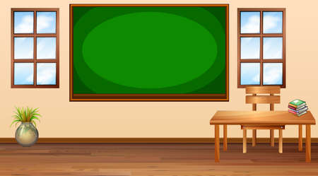 school class: Classroom with blackboard at center illustration