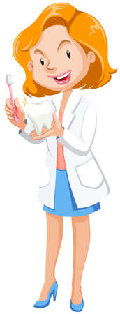 Female dentist with tooth model and brush illustration Illustration