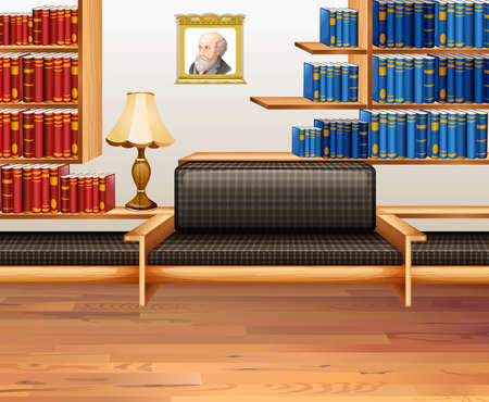 living room design: Room with lots of bookshelves illustration