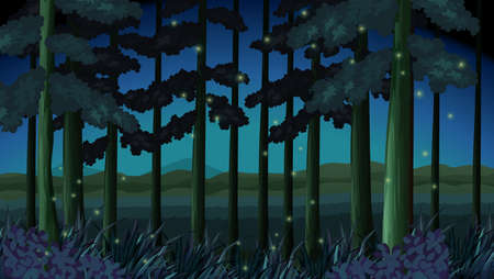 Forest scene at night with fireflies illustration