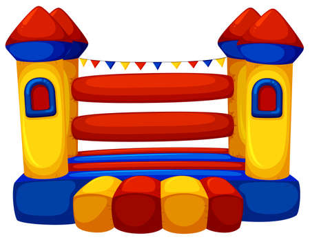 castle tower: Jumping castle with no children illustration