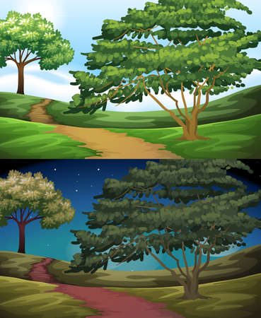 night: Nature scene of the countryside at day and night illustration